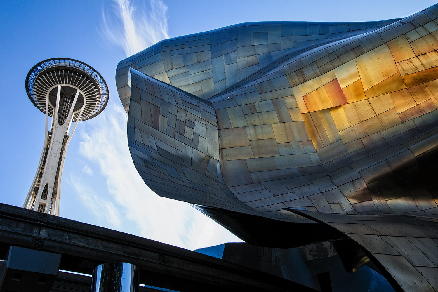 architecture, landmark, space needle, Seattle, buildings, copper, metal