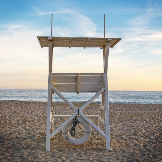 life guard tower, beach, ocean, water, safety, sand, sky, sunset