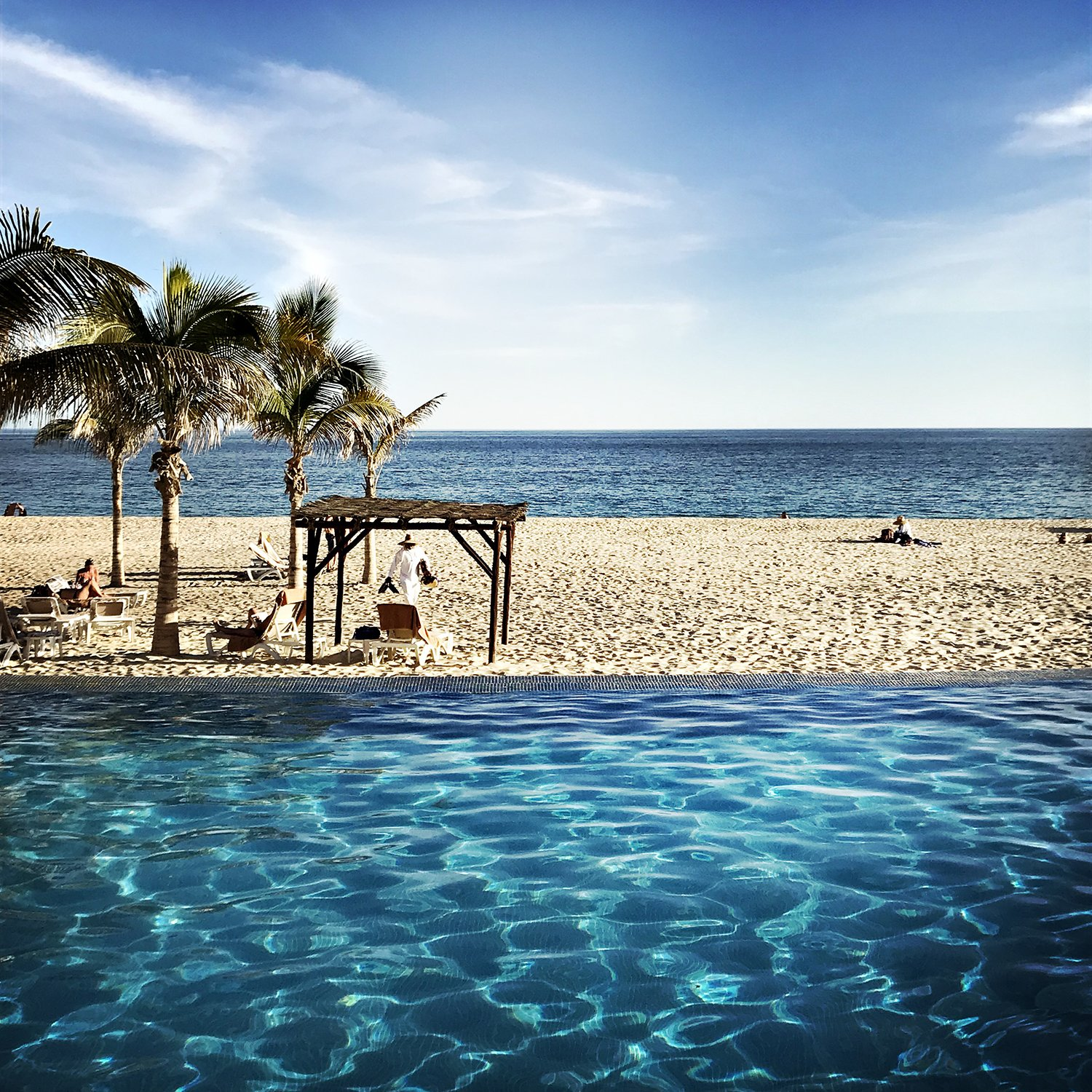 baja, ocean, blue, waves, water, wet, sand, cabana, palm trees, ripples