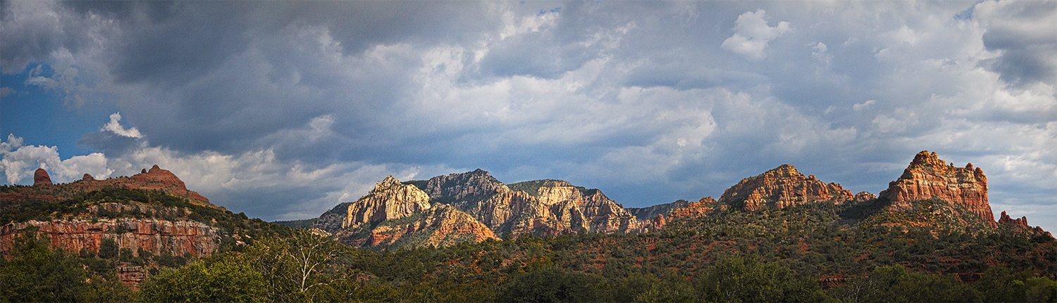 red rock, Sedona, mountains, clay, nature, scenery, trees, sky